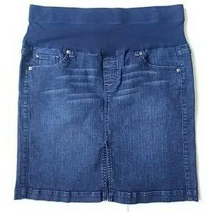 Oh Baby Maternity Dark Blue Jean Skirt Sz Large